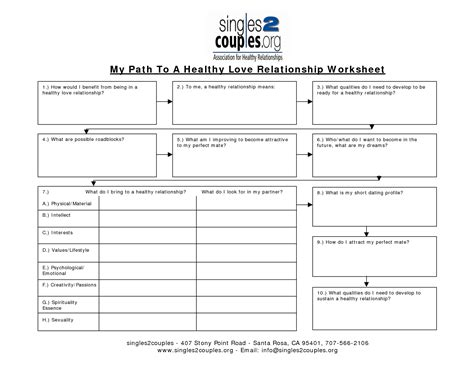 stopped in your relationship worksheets
