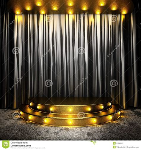 black fabric curtain on golden stage royalty free stock