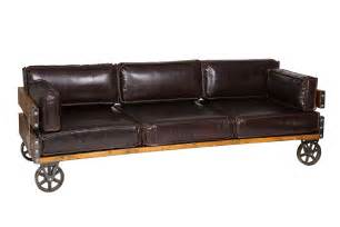 Vintage Style Leather Sofa by Leather Industrial Sofa With Wheels Royal Black Akku