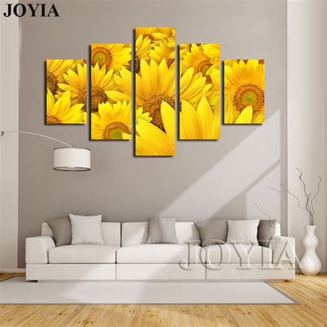 piece canvas prints blooming yellow sunflowers paintings