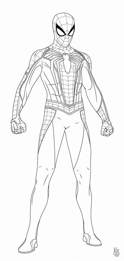 Ps4 Spiderman Coloring Drawing Spider Step Drawings