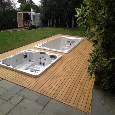 swim spa pool  spa section separated   decking