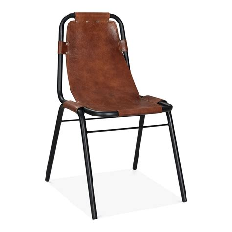 chaise vintage maison du monde brown leather mercury metal side chair industrial dining