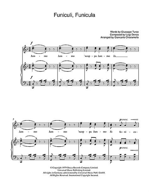 funiculi funicula sheet by luciano pavarotti piano vocal guitar 39248