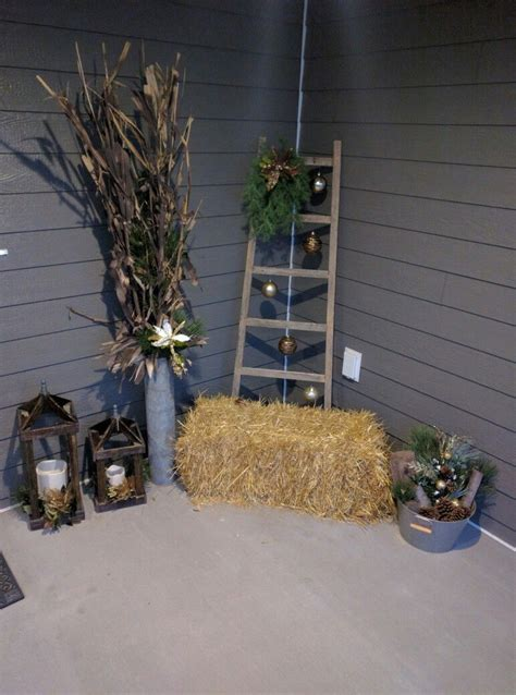 Started my winter front porch Fall decor Ladder decor