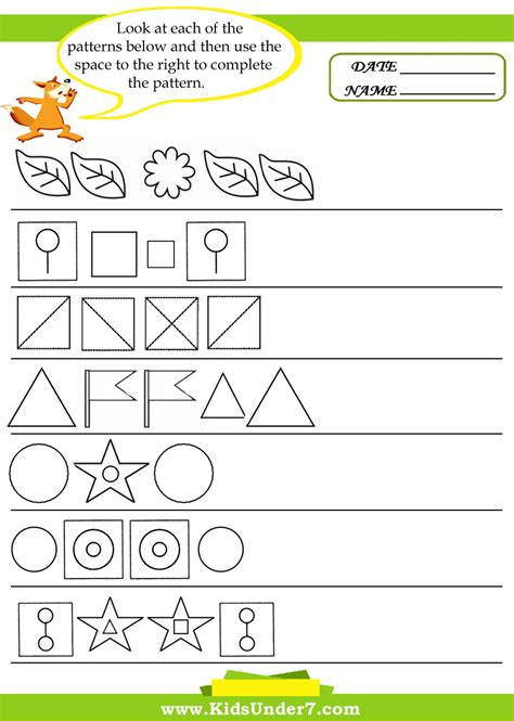 shapes space and patterns worksheets for grade 4