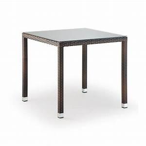 Plateau De Verre Pour Table : tt20 table empilable structure effet rotin plateau en verre 80 x 80 cm de jardin ~ Melissatoandfro.com Idées de Décoration