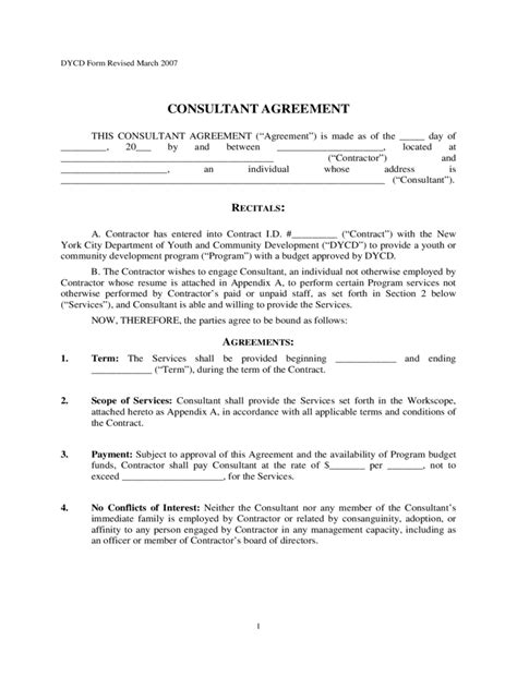 consultant agreement template   templates