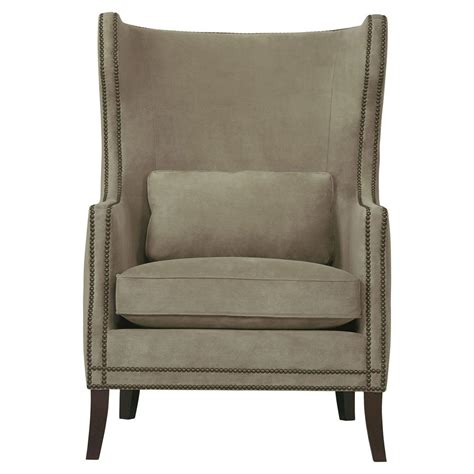 wingback chair churchill brown upholstered nailhead wing chair