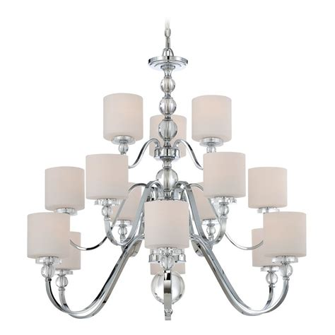 White Modern Chandelier by Modern Chandelier With White Glass In Polished Chrome