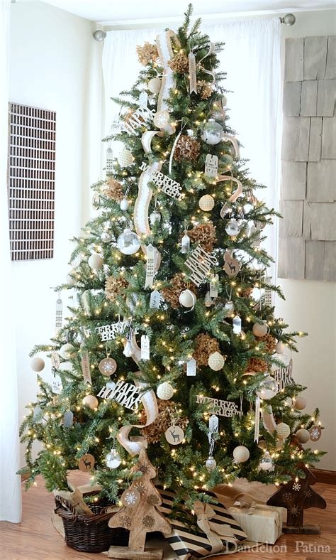 happy holidays home  neutral christmas tree  gift