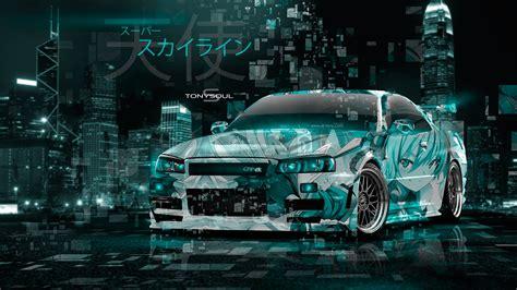 nissan skyline gtr  jdm tuning super anime girl angel energy japanese hieroglyph neon art car