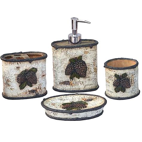Rustic Bathroom Hardware Sets by Rustic Bath Decor Pine Cone Bath Accessories Set