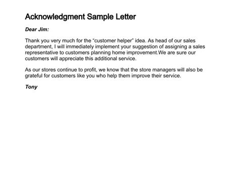 write  letter  acknowledgment