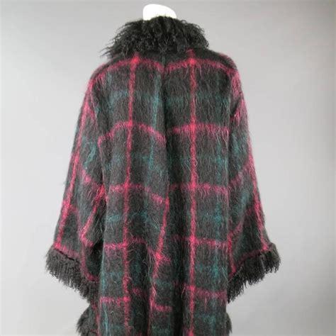 jean louis scherrer size xl black pink and teal plaid fur trim cardigan coat at 1stdibs