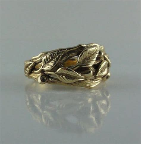 leaf engagement ring leaf and twig wedding band branch leaf