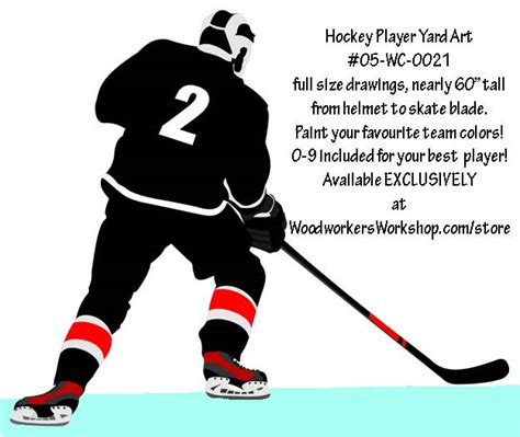 hockey player  hand full size woodworking pattern