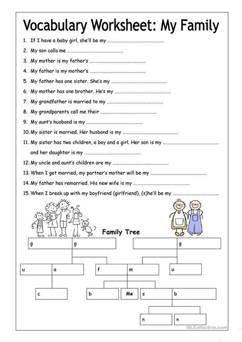 vocabulary worksheet  family medium worksheet