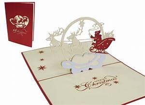 Pop Up Weihnachtskarten : pop up weihnachtskarte weihnachtsmann und rentiere pop up karten von lin online shop f r ~ Frokenaadalensverden.com Haus und Dekorationen