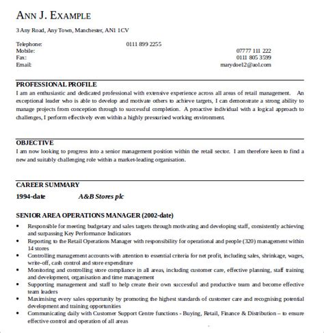senior operations manager resume template sle operations manager resume 9 free documents in pdf word
