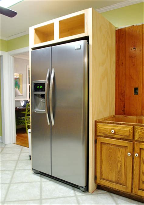 how to make your fridge look like a cabinet how to build in your fridge with a cabinet on top young