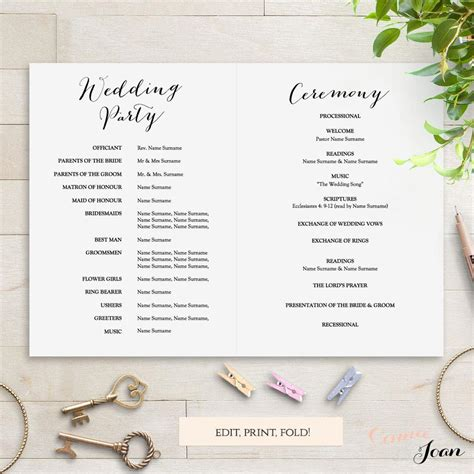 sweet bomb printable folded wedding order  service