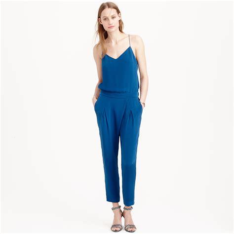jcrew jumpsuit j crew collection silk crepe de chine jumpsuit in blue lyst