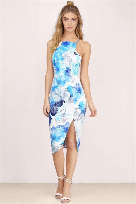 blue midi dress tropical dress blue tank dress