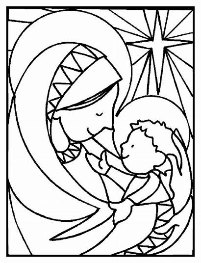 Coloring Nativity Pages Printable Jesus Mary