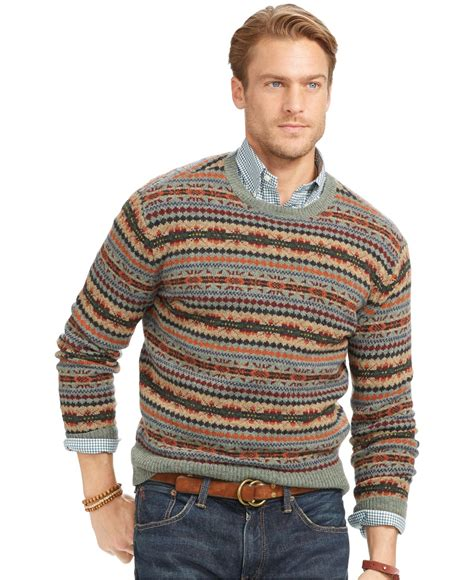 polo ralph lauren fair isle merino wool sweater  men lyst
