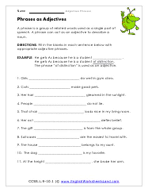 adjective phrases worksheets