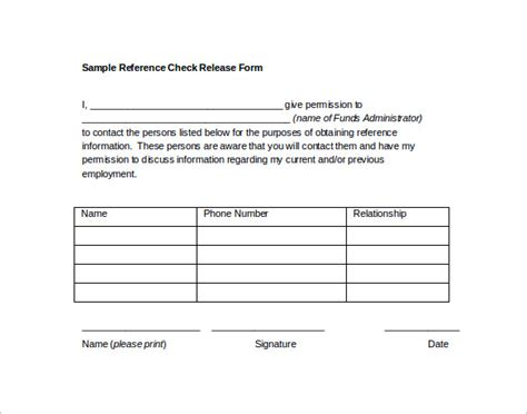 14 Reference Release Form Templates To Download Sample