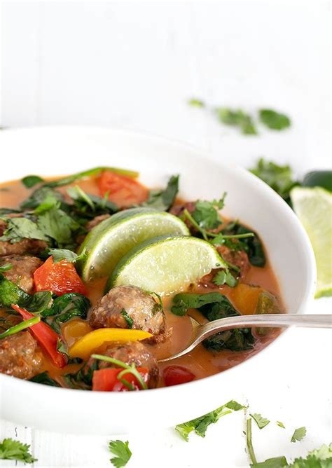 Place stock, coconut cream, 1 portion of the kaffir lime leaf, lemon grass and chilli in a large saucepan and bring to the boil. Chicken meatballs combine with a lightly creamy, Thai red ...