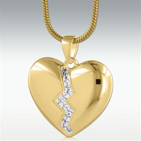 broken heart  gold vermeil cremation jewelry engravable