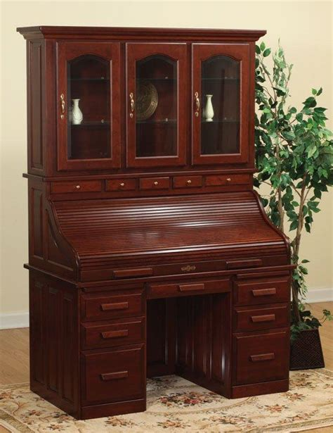 desk with hutch top amish roll top desk with hutch top