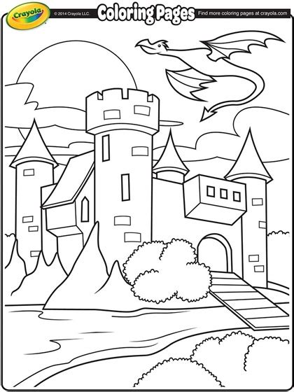 castle  dragon flying  coloring page crayolacom
