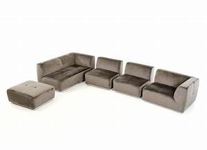 Contemporary grey fabric sectional sofa vg389 fabric for Grey cloth sectional sofa