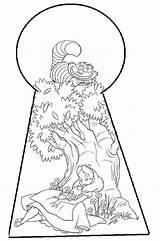 Wonderland Alice Drawing Doorknob Keyhole Getdrawings sketch template