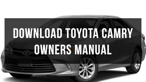 toyota camry owners manual   youtube