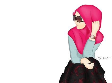 gambar kartun muslimah bercadar syari cantik lucu