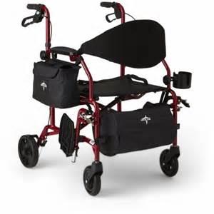 medline combination rollator transport wheelchair red