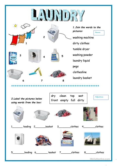 laundry worksheet  esl printable worksheets