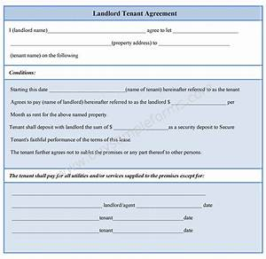 landlord tenant agreement form With landlord tenant contract template