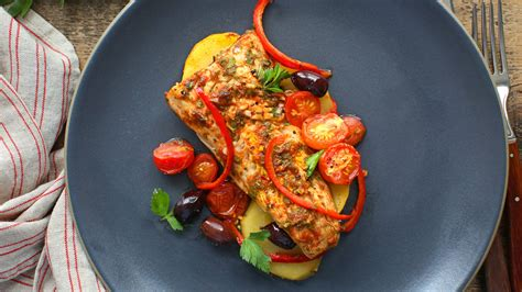 moroccan baked fish  potatoes peppers  olives