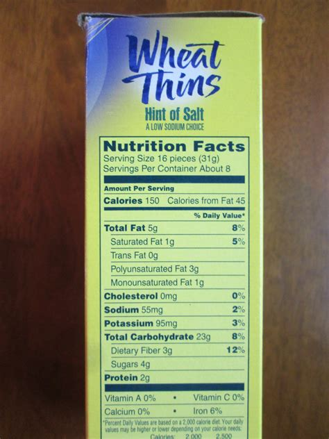 wheat thins nutrition facts reduced fat