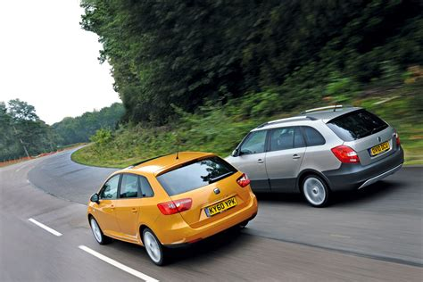 seat ibiza st  skoda fabia scout road test review