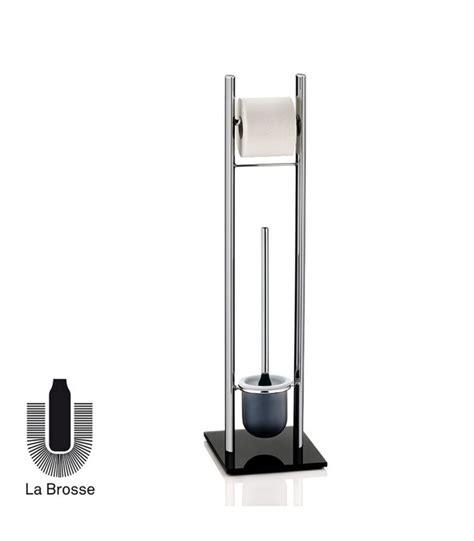 rangements de bureau dérouleur papier toilette brosse wc chrome et verre noir