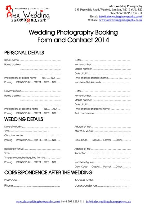 wedding photography booking form  contract