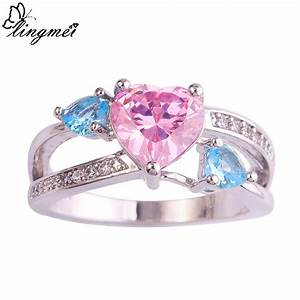 lingmei love jewelry wedding engagement rings heart pink With pink and silver wedding rings