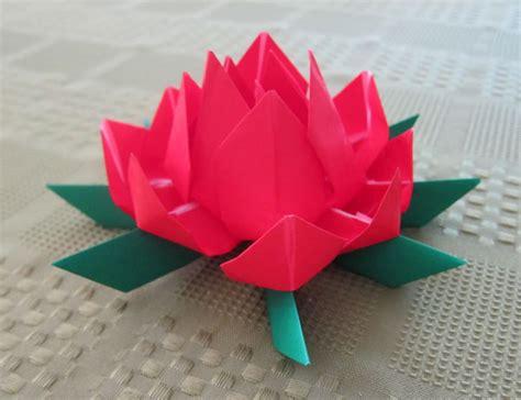 red origami lotus flower